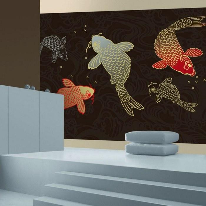 Papiers peints cr atifs colour life images de chambres banc de po - Papier peint poisson ...