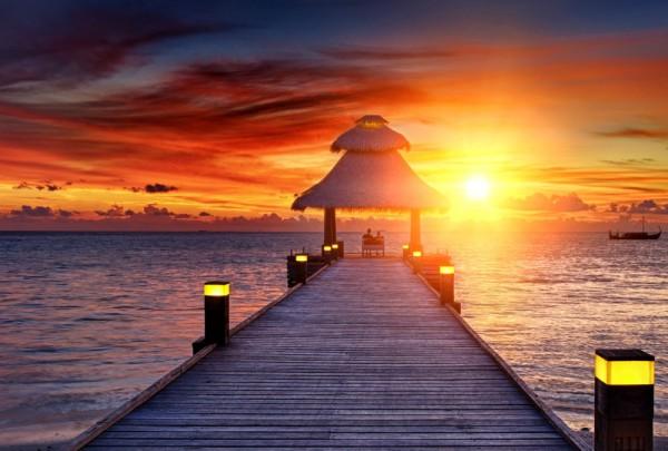 Fototapete Nr. 3286 - Sonnenuntergang auf den Malediven