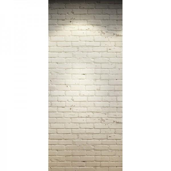 Türtapete Nr. 3312 - Klinker weiß gestrichen und beleuchtet