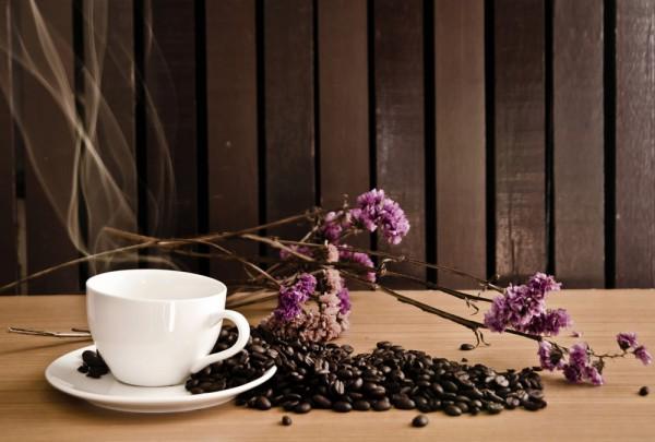 Fototapete Nr. 3395 - Kaffee & Blüten