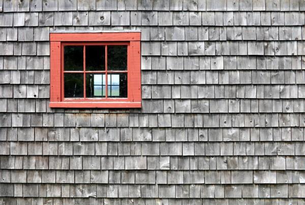 Fototapete Nr. 3810 - Holzschindelwand mit Fenster