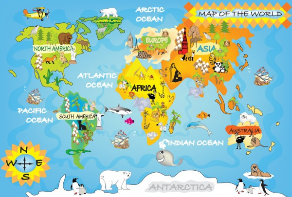 Fototapete Nr. 3507 - Map of the World - Kids II