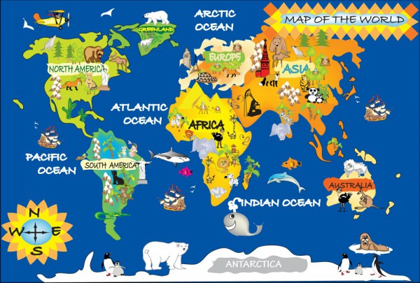 Fototapete Nr. 3506 - Map of the World - Kids I