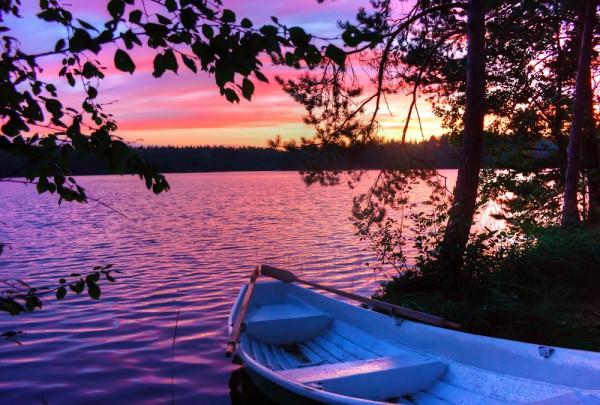 Fototapete Nr. 3291 - Sonnenuntergang an einem finnischen See